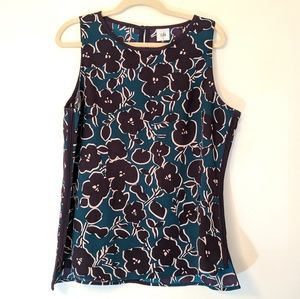 CAbi Blouse Sleeveless Floral Navy Blue Large